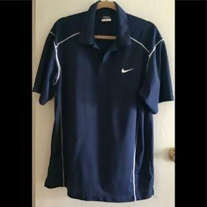 Nike men's golf shirt navy blue white size L .